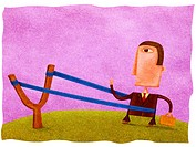 A businessman in a sling shot (thumbnail)