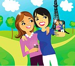 Two women taking a photo of themselves in front of the Eiffel Tower with a digital phone