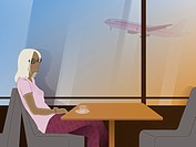 A woman waiting in a cafe and an airplane outside the window