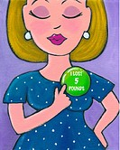 A woman pointing to her weight loss badge
