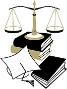 An illustration of a graduation cap, a stack of books and the Scales of Justice