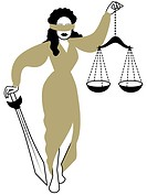 An illustration of Lady Justice blindfolded, holding scales and a sword