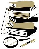 A stock of books, a magnifying glass and a pen