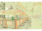 Outdoor patio seating of a restaurant in a city square (thumbnail)
