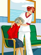 A healthcare worker helping an elderly woman out of a chair