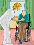 A health care worker assisting an elderly man out of a wheel chair