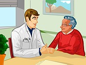 A young doctor speaking with an elderly patient