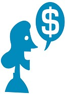 A woman and dollar symbol in speech bubble