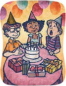 A boy blowing out candles on a cake at a birthday party