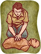 A man doing CPR on a dummy