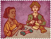 Two women knitting (thumbnail)
