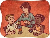 A child care worker playing blocks with two children