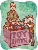 A man and a boy at a toy drive