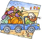 A farmer driving a truck full of autumn vegetables