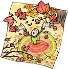 A woman throwing autumn leaves into the air