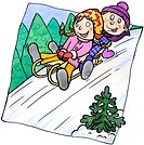 Two children sledding down a hill