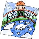 A boy standing on a bridge watching a river melt