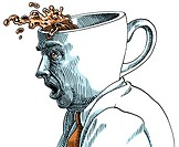 Businessman with coffee cup shaped head