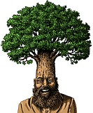 An illustration of a man wearing a business suit with a mature tree growing from his head