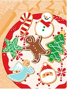 An illustration of Christmas themes cookies