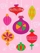 Numerous Christmas decoration illustrated in different styles and colors