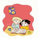 Two young children reading a book together (thumbnail)