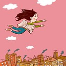 A drawing of a young girl flying over a city with the pages of a book acting as wings