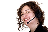 Customer service operator with a big smile over a white background