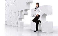 business girl leaning on a puzzle _ isolated over a white background