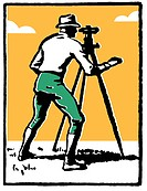 A vintage illustration of a man surveying the land