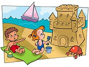 Two children building a sandcastle on the beach