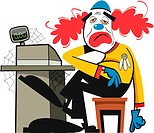 An illustration of an unhappy looking clown sitting by a cash register