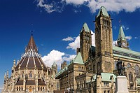 North corner of the Center Block of Parliament Hill in Ottawa with refurbished library