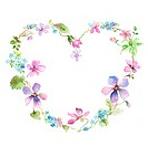 Flower, Picture frame of heart shape with flowers (thumbnail)
