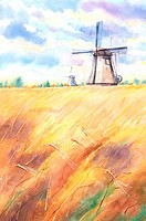 Flower, Watercolor painting of windmill in the farm field