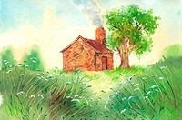 Flower, Watercolor painting of a hut and a tree on the lawn