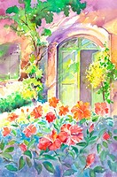 Flower, Watercolor painting of a door with beautiful flowers