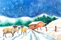 Animal, Watercolor painting of sheep standing on the snow