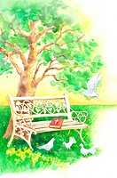 Animal, Watercolor painting of doves perching on the lawn with bible and bench