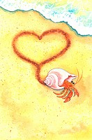 Animal, Watercolor painting of a crab walking with heart shape on sand