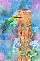 Watercolor painting of a bird perching near wood with petunia