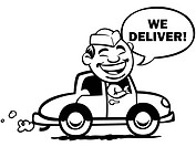 A man driving a car saying We Deliver!