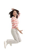 Wife, Woman jumping in mid_air and laughing