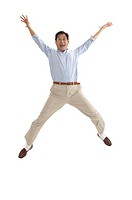 Husband, Man jumping with hands outstretched and laughing
