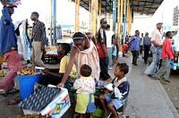 Bus station scene, Lusaka, Zambia