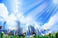 Lohas, Environmental Conservation, Digitally generated image of buildings in the flower field with sunshine pouring in