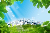 Lohas, Environmental Conservation, Digitally generated image of buildings and green leaves in the sunshine