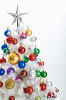 Abundant Christmas baubles on a Christmas Tree