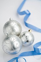 Ribbon and silver Christmas baubles