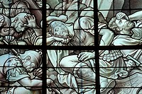 DETAIL OF A STAINED_GLASS WINDOW, THE CHAPEL IN THE CHATEAU OF ANET, EURE_ET_LOIR 28, FRANCE